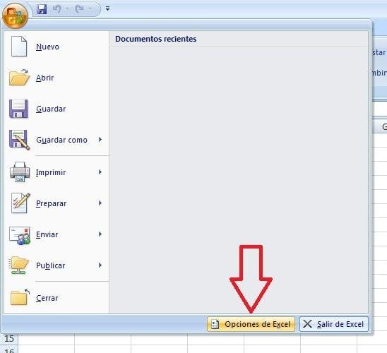 Opcion Excel 2007